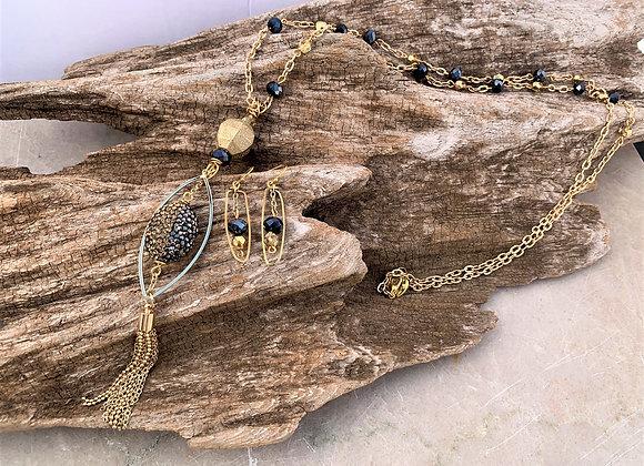 Gold/Black Rhinestone Bead Pendant with Tassel Necklace