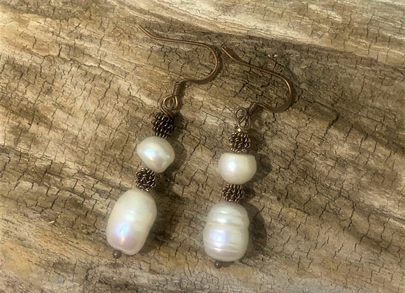 Freshwater Pearl and Copper Earrings