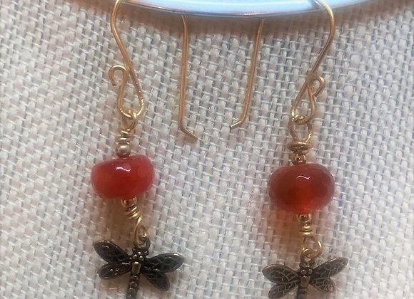 Dragonfly with Carnelian Earrings