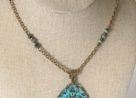 Turquoise Brass Metal Dragonfly Pendant Necklace