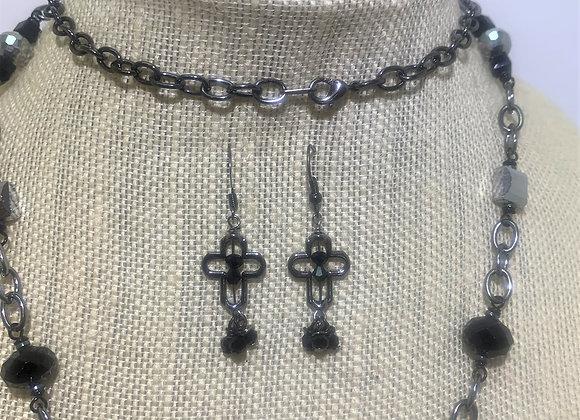 Black Cross Earrings