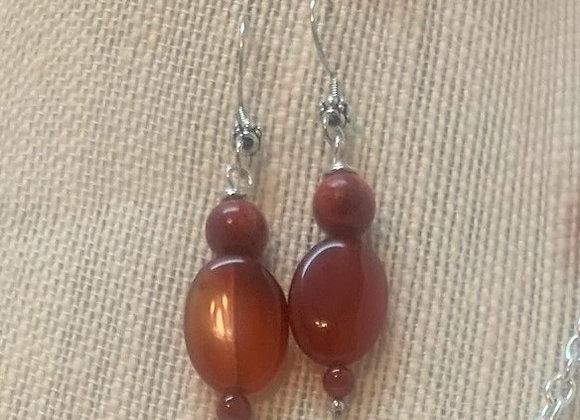 Red Jasper and Carnelian Stone Earrings