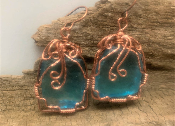 Copper Wire Wrapped Turquoise Sea Glass Earrings