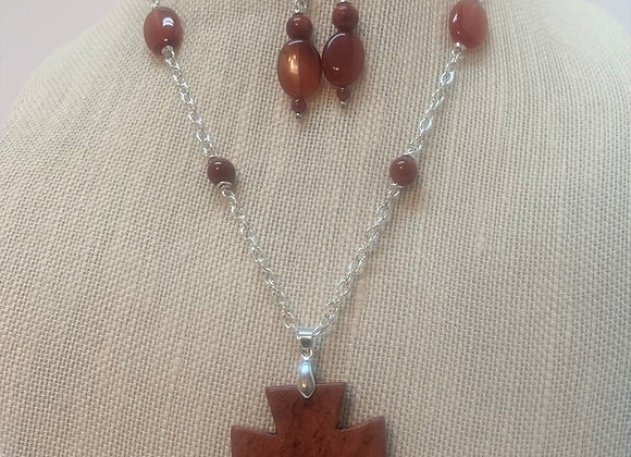Red Jasper Cross Necklace