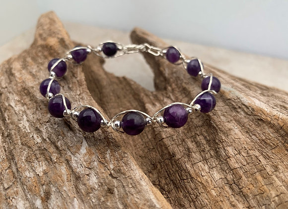 Amethyst Sterling Silver Wrapped Bracelet