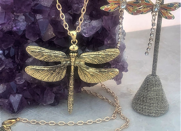 Goldtone Dragonfly Necklace