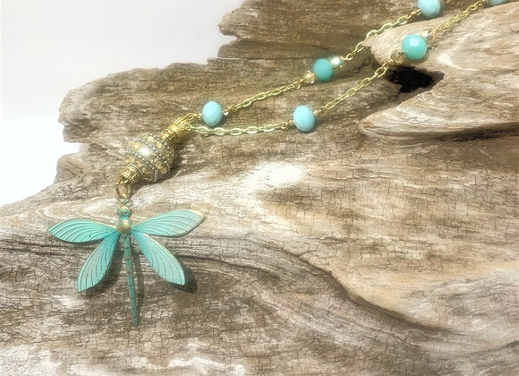 Aqua Dragonfly Necklace