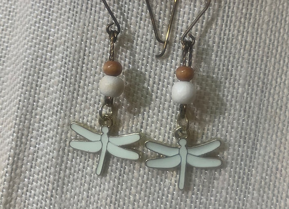 Brass and Cream Accent Dragonfly Earrings