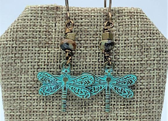 Turquoise Brass Metal Dragonflies Earrings