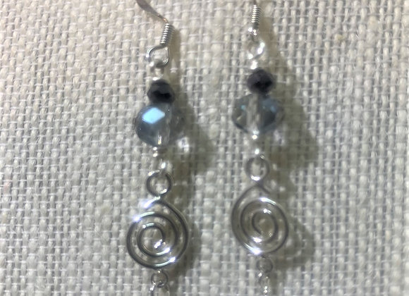 Black Bead with Swirl Earrings
