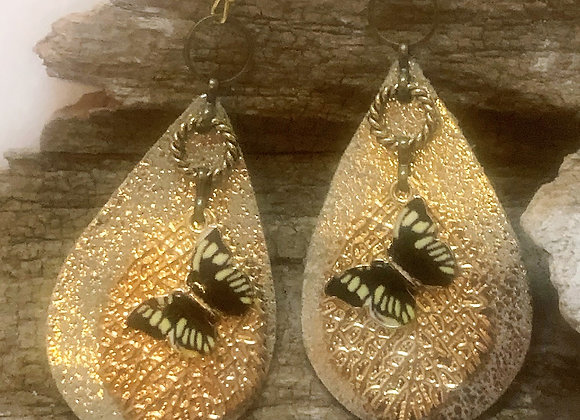 Leather Metallic Teardrop with Leaf and Butterfly Earrings