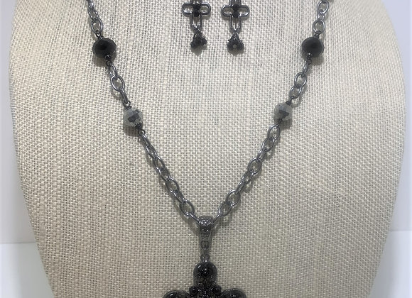 Black Rhinestone Cross Necklace
