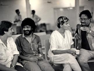 1987 - Sue Buckwell (British Council), Shankar Shajoal (Caliban), Deborah Warner, Aly Zaker (Prospero), The Tempest, Bangladesh