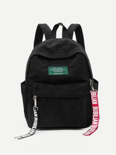 c2a998e396 Slogan Ribbon Corduroy Backpack