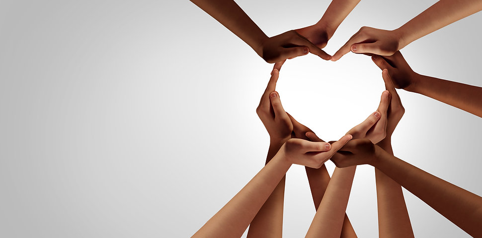 Unity and diversity partnership as heart hands in a group of diverse people connected toge