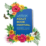 Latinx+Kidlit+Book+Festival+Logo-+a+book+surrounded+by+flowers+and+two+butterflies,+with+t