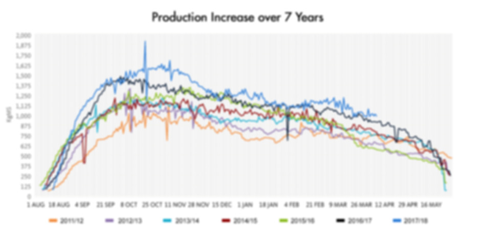 Producton Increase over 7 Years
