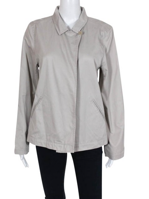 Eileen Fisher 100% Cotton One Button Convertible Collar Top Sz M Natural Jacket