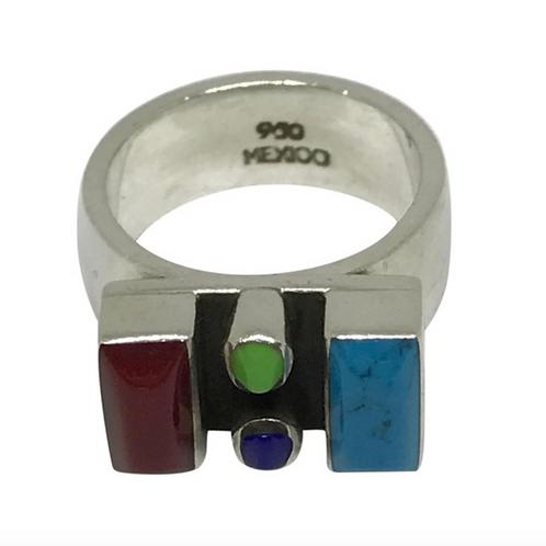 MEXICO - Vintage Lapis Turquoise Jadeite Corral Multi Stone Ring 5.5