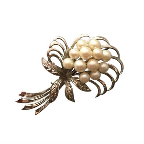 VINTAGE ARTISAN - Pearl Bouquet of Pearls set in Sterling Vintage Brooch/Pin