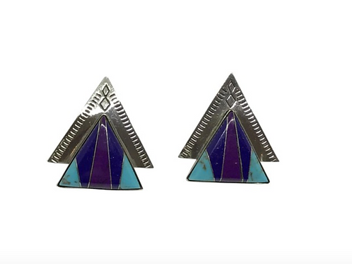 ARTISAN - Native American Vintage Lapis Turquoise and Sterling Earrings