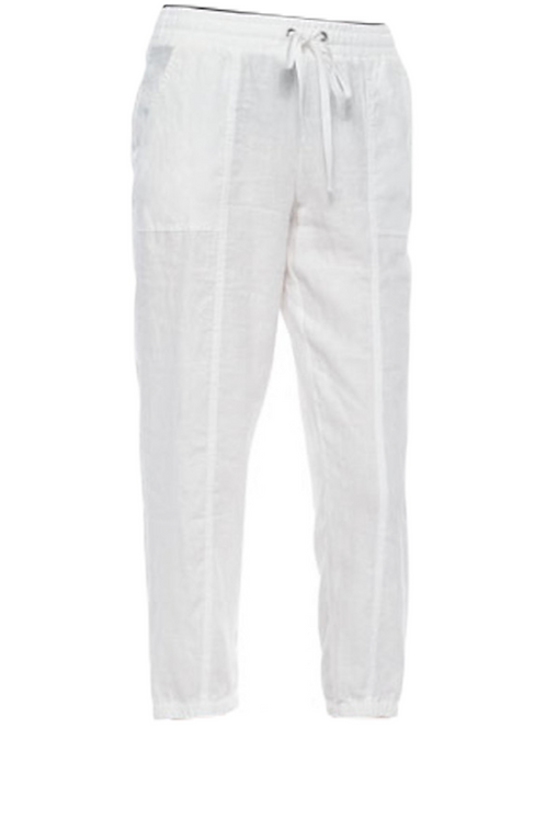 Eileen Fisher Organic Linen Drawstring Ankle Crop Relaxed Pants