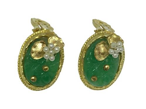ARTISAN - Glitzy Handmade Jadeite & Pearl Clip-ons