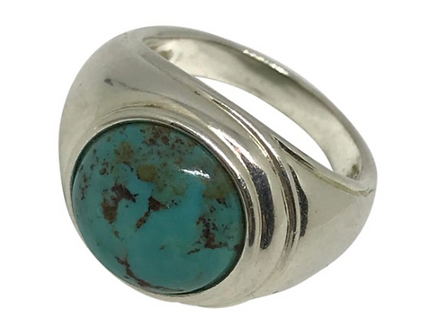 ARTISAN - Designer Signed Round Turquoise Set in Sterling Silver SIZE 8