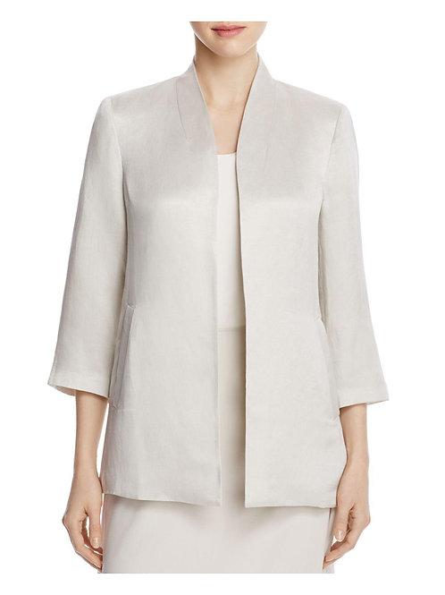 Eileen Fisher Organic Linen & Silk Satin Medium Bone / Pearl Jacket Size: 10 (M)