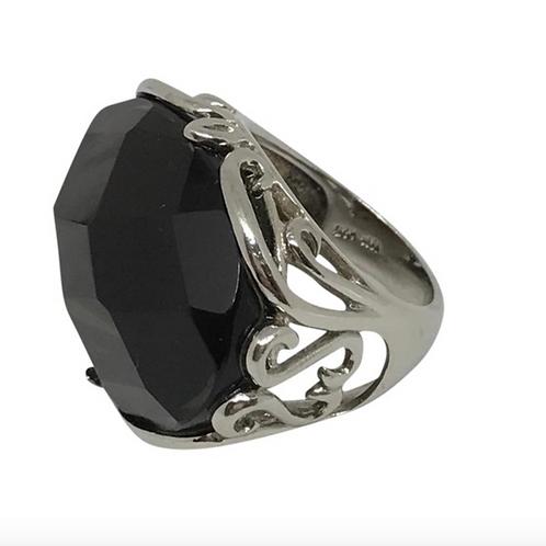 """DESIGNER SIGNED """"NF"""" Huge Vintage Smokey Topaz Sterling Ring"""