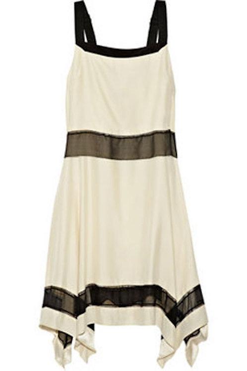 Rag & Bone Ivory / Black Silk Albion Sheer-stripe Dress Size: 2 (XS