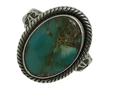 ARTISAN - Vintage Native American Turquoise & Sterling Ring Size: 7