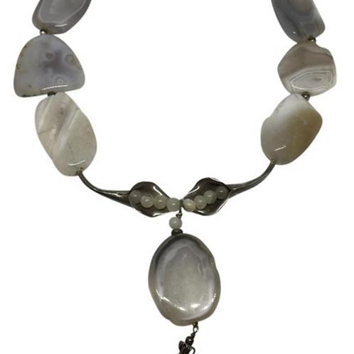 ARTISAN - Sterling and Quartz heavy 4.9oz necklace