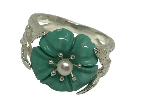 ARTISAN - Sterling Turquoise, Pearl 925 Flower Ring Size: 8