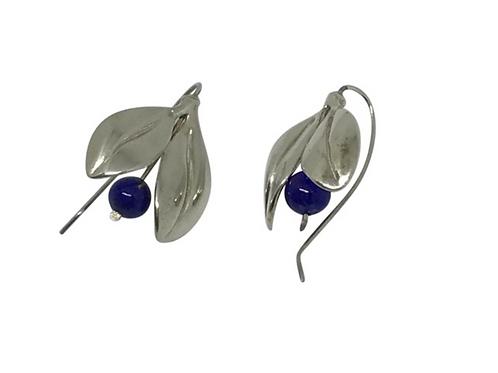 ARTISAN - Designer Signed Sterling & Lapis Lilly Flower Earrings