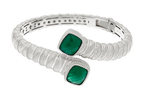 JUDITH RIPKA - Sterling & Chalcedony Bypass Cuff