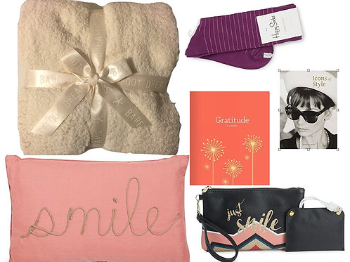LUX GIFT BOX Smiles & Style Gift Bundle with Barefoot Dreams Throw