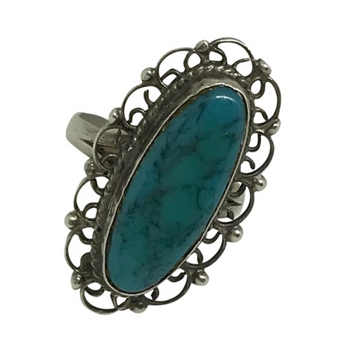 MEXICO - Vintage Artisan Sterling and Turquoise Ring Size: 6.5
