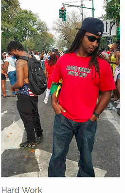 Happy customer sporting Hard Work Pays Off during the Caribbean Day festival in NYC