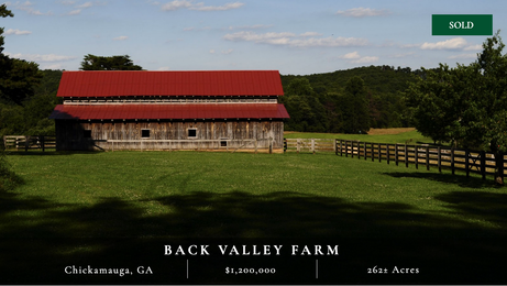 262± acres tucked away in picturesque foothills of Lookout Mountain.  Thirty minutes south of Chattanooga.  Convenient to city's amenities with tranquility of countryside.  Countless recreational activities.  Perfect for horse lovers.  Charming 3,000± sq ft house.  Very scenic.