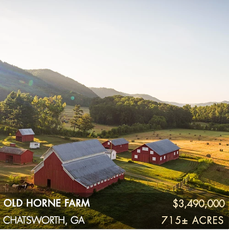 Tucked into the foothills of the southern Blue Ridge Mountains, this historic 715± acre farm embodies the best qualities of north Georgia land.  Old Horne Farm consists of fertile farmland that gradually moves into rolling forested hills that overlook the scenic countryside below. One of the properties highlights is the adjacent 3,200±-acre Carter's Lake, the deepest of Georgia's reservoir lakes and an incredibly rich recreational body of water. Old Horne Farm is just 20 miles from Ellijay, GA, one of north Georgia's prized mountain towns, and 65 miles from Atlanta, providing many wonderful conveniences.