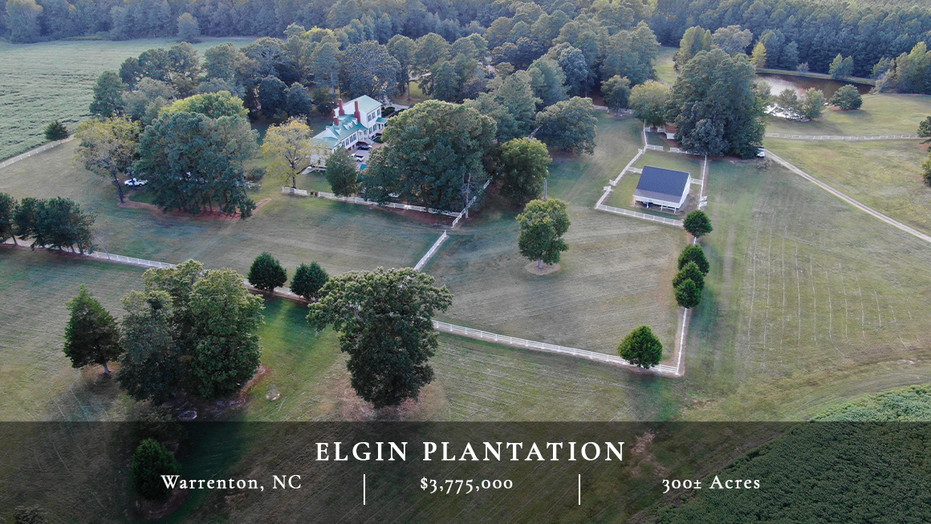 Elgin is a historic 300+/- acre plantation located 60 miles northeast of Raleigh. At the center of the property, at the end of a half-mile long driveway, sits a beautifully restored plantation home surrounded by mature oaks, Magnolias, and hundred year-old boxwoods.