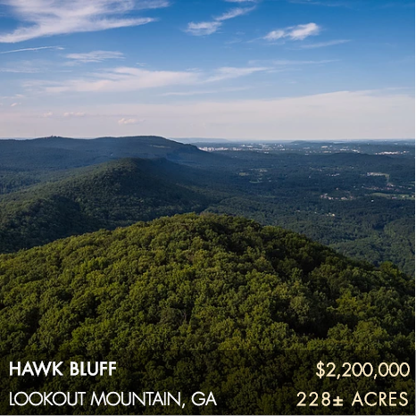 Located on Lookout Mountain with nearly a mile of sensational eastern brow views, Hawk Bluff offers a unique opportunity to own 228± acres that is only 13 miles from downtown Chattanooga plus the added benefit of being surrounded by a significant landscape of protected lands, much of which offers public access for a myriad of recreational activities. Virtually surrounded by protected land, Hawk Bluff feels and operates much larger than its actual size. The Cloudland Canyon Connector trailhead is located adjacent to the property's entrance and provides excellent access to miles upon miles of trails to be enjoyed from your own backyard. There is no conservation easement on this property, which affords a new owner maximum opportunity to pursue any interests they desire.
