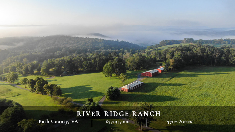 Gorgeous 370± acres on the Cowpasture River. Bordered by national forest on two sides, well-improved, and conveniently located 25 minutes from Hot Springs and the Homestead Resort.
