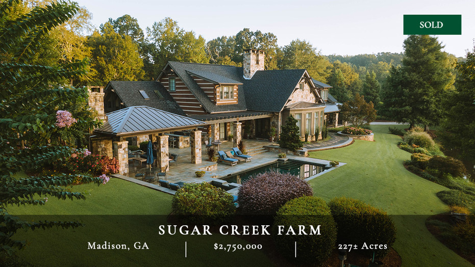 227± acre recreational farm in Madison, Georgia.  Habitat managed for deer populations.  Six-acre lake and a mile of Sugar Creek.  5,225 sq ft craftsman home.  One hour from Atlanta.