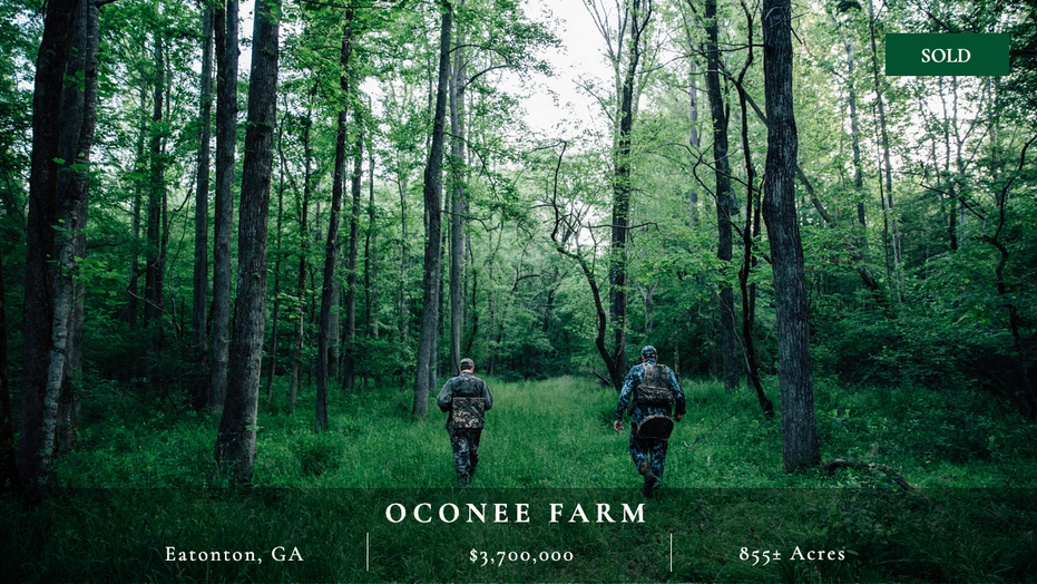 855± acres located 75 minutes from downtown Atlanta, 20 minutes from Madison and Lake Oconee.  5,000 sq. ft. main house and guest cabin.  Three-acre lake.  Diverse landscape offers deer, turkey, and quail hunting.  Excellent condition.