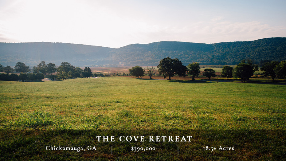 Located in the pastoral valley between Lookout Mountain and Pigeon Mountain, this property sits in the heart of Georgia's most scenic area, McLemore Cove, and is the only private land holding within Mountain Cove Farms.