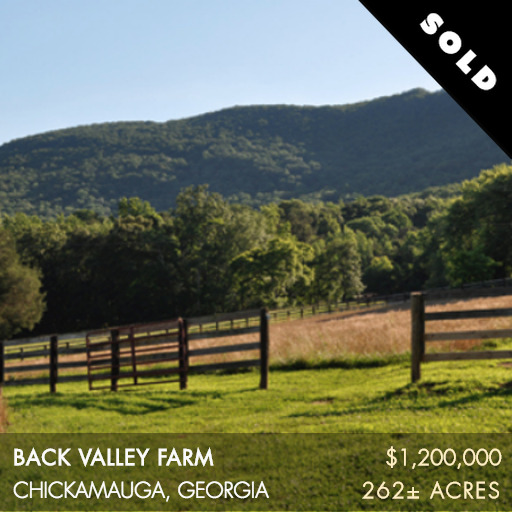 """Back Valley Farm is an idyllic property located in the picturesque foothills of Lookout Mountain. Situated in North West Georgia, Back Valley Farm is only half an hour south of Chattanooga, TN which boasts itself as the """"Scenic City."""" Back Valley Farm offers the wonderful combination of both the convenience to city amenities and the tranquility of the countryside."""