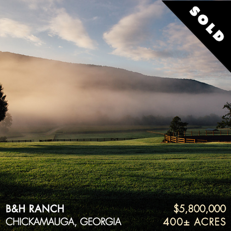 """B&H Ranch lies in one of Georgia's most scenic areas, McLemore Cove. Tucked in between the lush, forested slopes of northwest Georgia's Lookout Mountain and Pigeon Mountain, the pastoral valley of McLemore Cove is a prime example of how rural Georgia used to be, and B&H Ranch is it's most treasured property. B&H Ranch (""""B&H"""") is 400± acres of meticulously cared for land that includes fertile pastures, rich farmland, mature hardwood forests and great water resources. Just like the land, the improvements are immaculately maintained and include a spectacular main home and a separate lodge for guests and extended family. The property also boasts a world-class equestrian facility."""