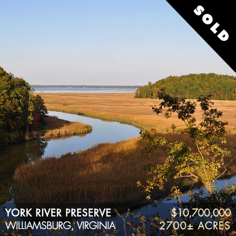 """The 2,700± acre York River Preserve (""""YRP"""") is located approximately 20 minutes northeast of the historic city of Williamsburg along the western shore of the York River and 25 miles upstream from the river's confluence with the Chesapeake Bay. The York fronts the property for over 3.5 miles and offers boating access and expansive views eastward for nearly 2 miles across open water. YRP is buffered by Ware Creek and Philbates Creek, which are intimate, meandering tidal streams originating west of the property, and a vast, intact saltwater marsh complex that offers waterfowl hunting, fishing, and other water-based activities."""